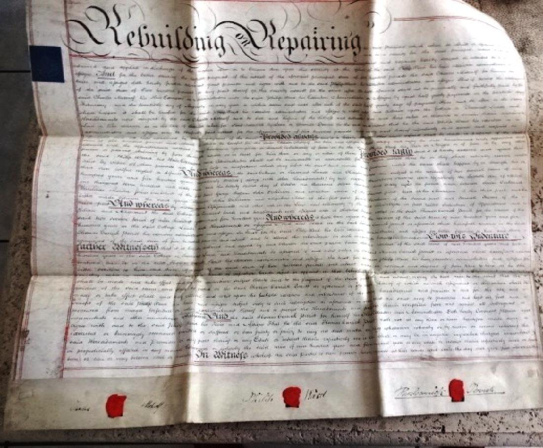 1831 Large Vellum Indenture Seal and Stamps