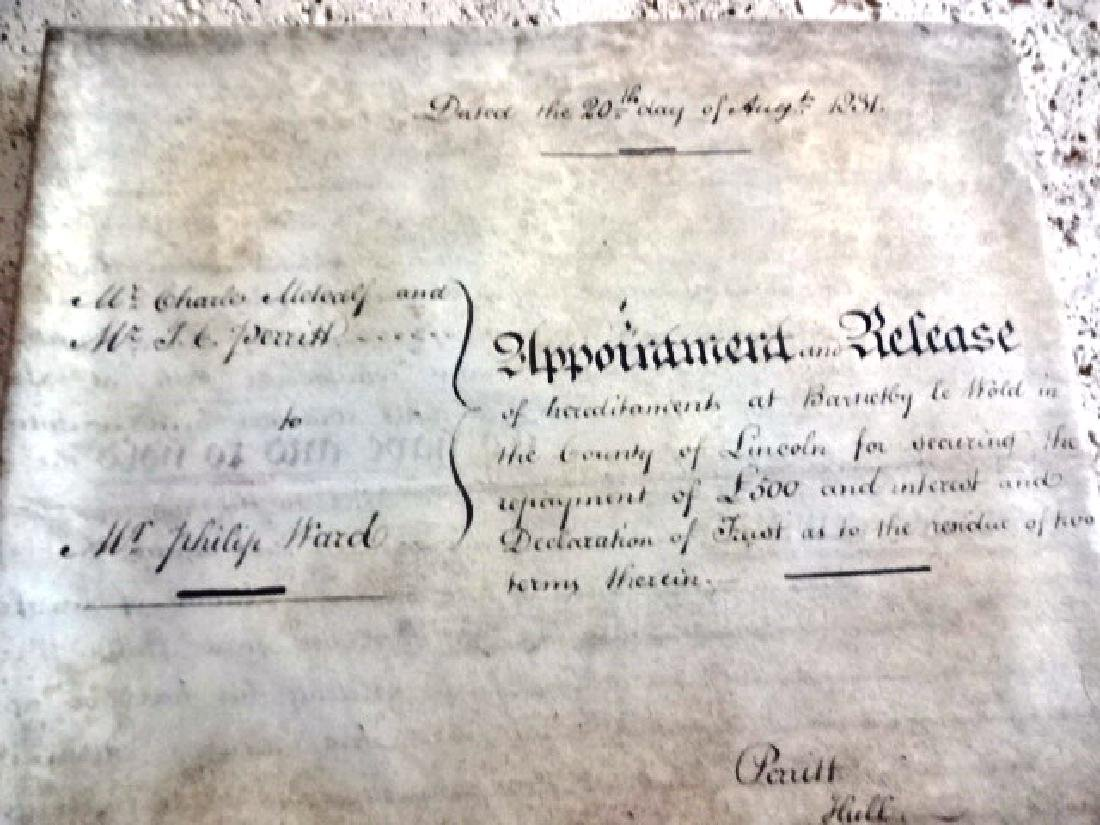 1831 Large Vellum Indenture Seal and Stamps - 3