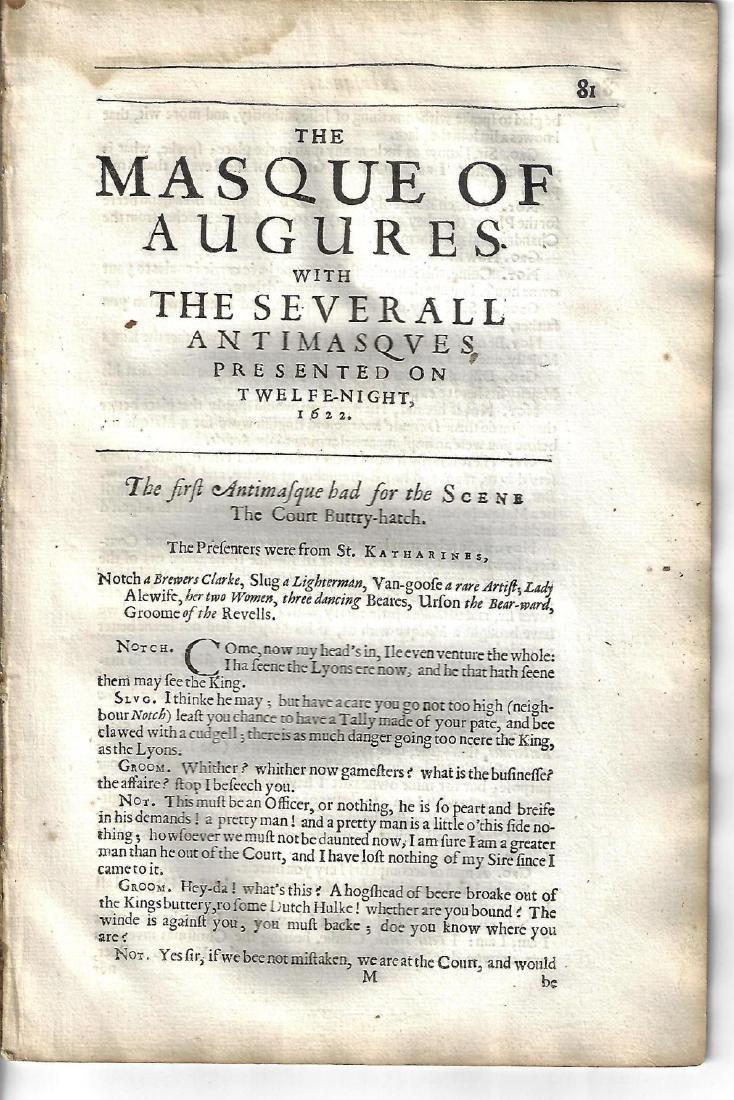 1650 Ben Jonson Masques Twelfe-Night