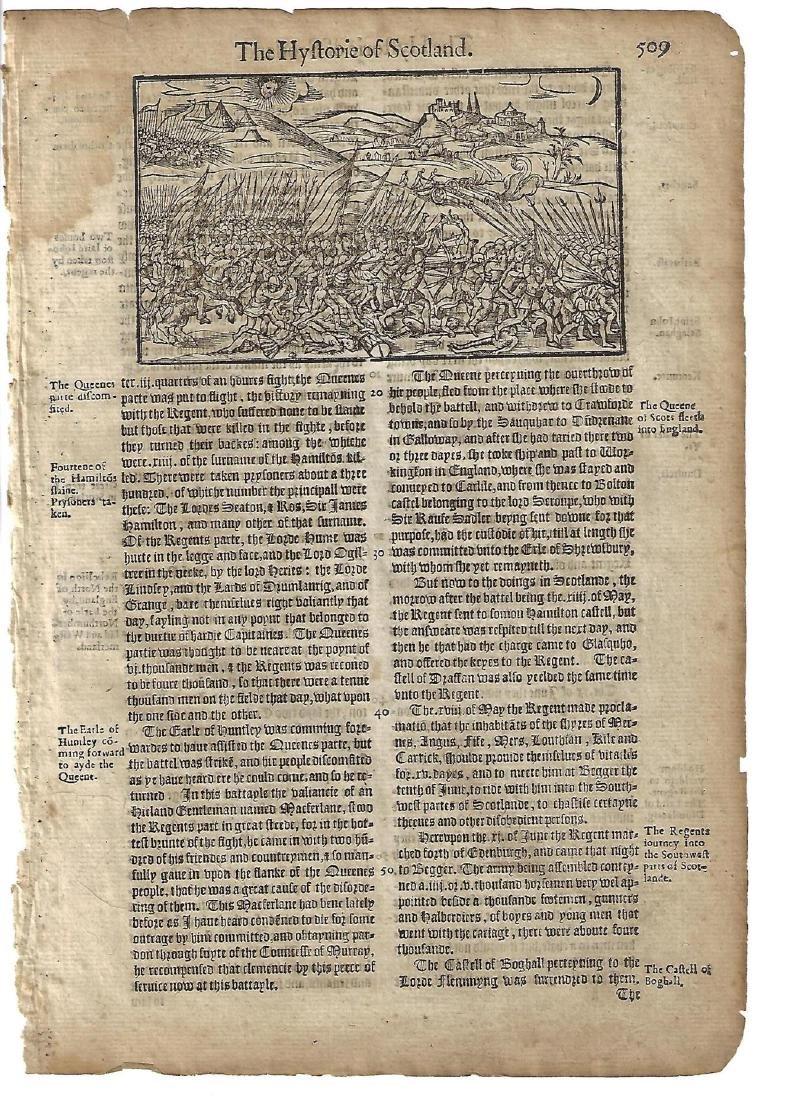 1577 Holinshed Leaf Woodcut of Battle