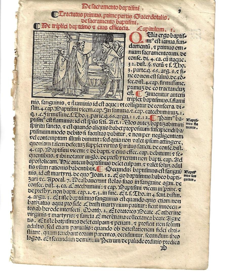 1567 Catholic Prayer Leaf w/ Woodcut