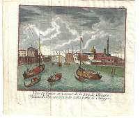 17th C Handcolored Venice Scene