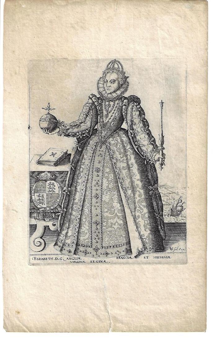 1601 Van Sichem Engraving of Elizabeth I