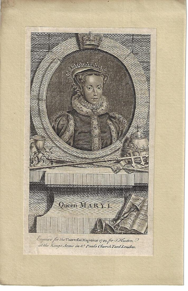 1749 Fine Engraving of Queen Mary I