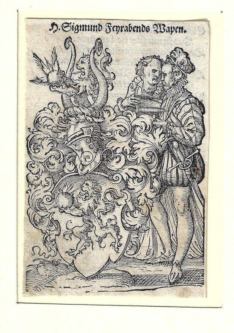 17th C Engraving Coat of Arms