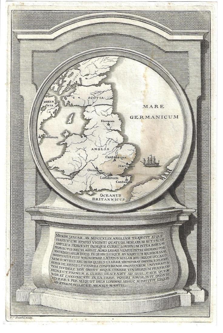 18th C Engraving Zucchi w/ Map England