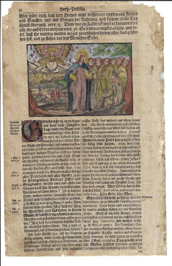 Two 16th C Handcolored Engravings Religious Work