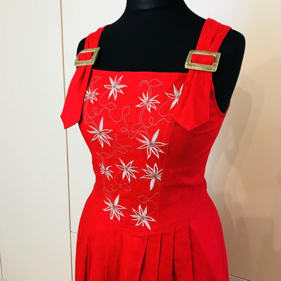 Vintage Women's Alphorn Linen Austrian Tyrolean Dress - 2