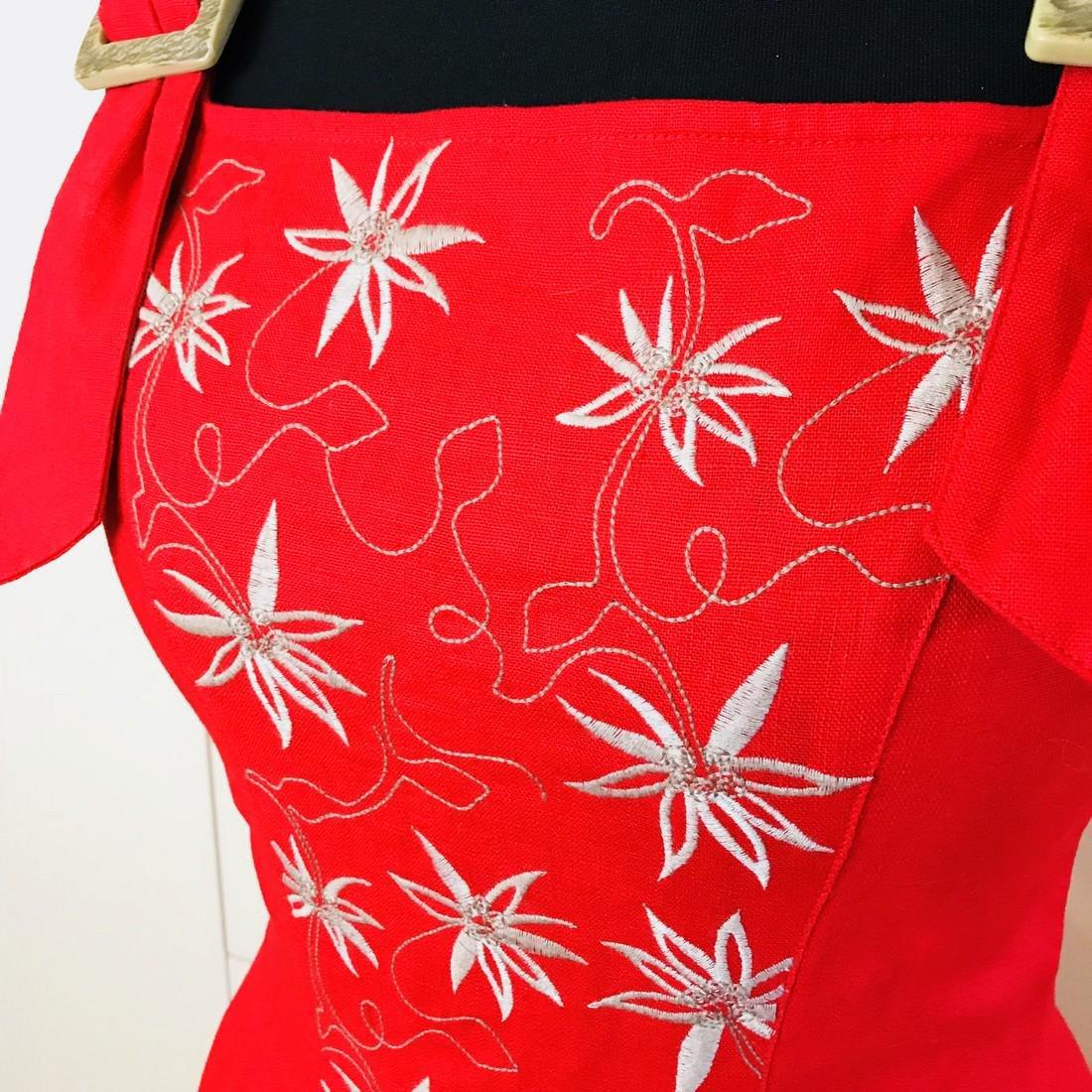 Vintage Women's Alphorn Linen Austrian Tyrolean Dress - 4