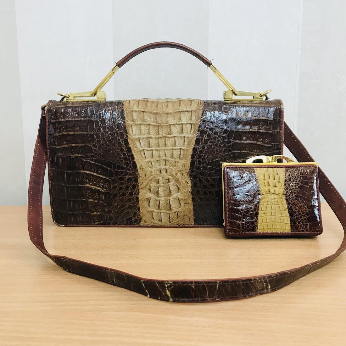 Vintage Genuine Crocodile Leather Handbag with Small