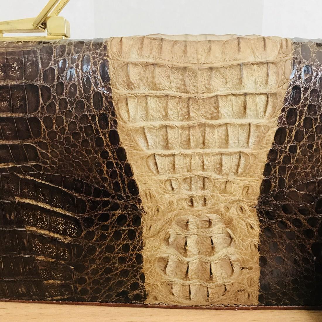 Vintage Genuine Crocodile Leather Handbag with Small - 2
