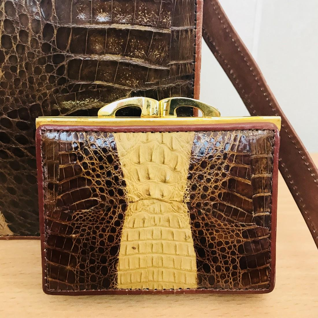 Vintage Genuine Crocodile Leather Handbag with Small - 3
