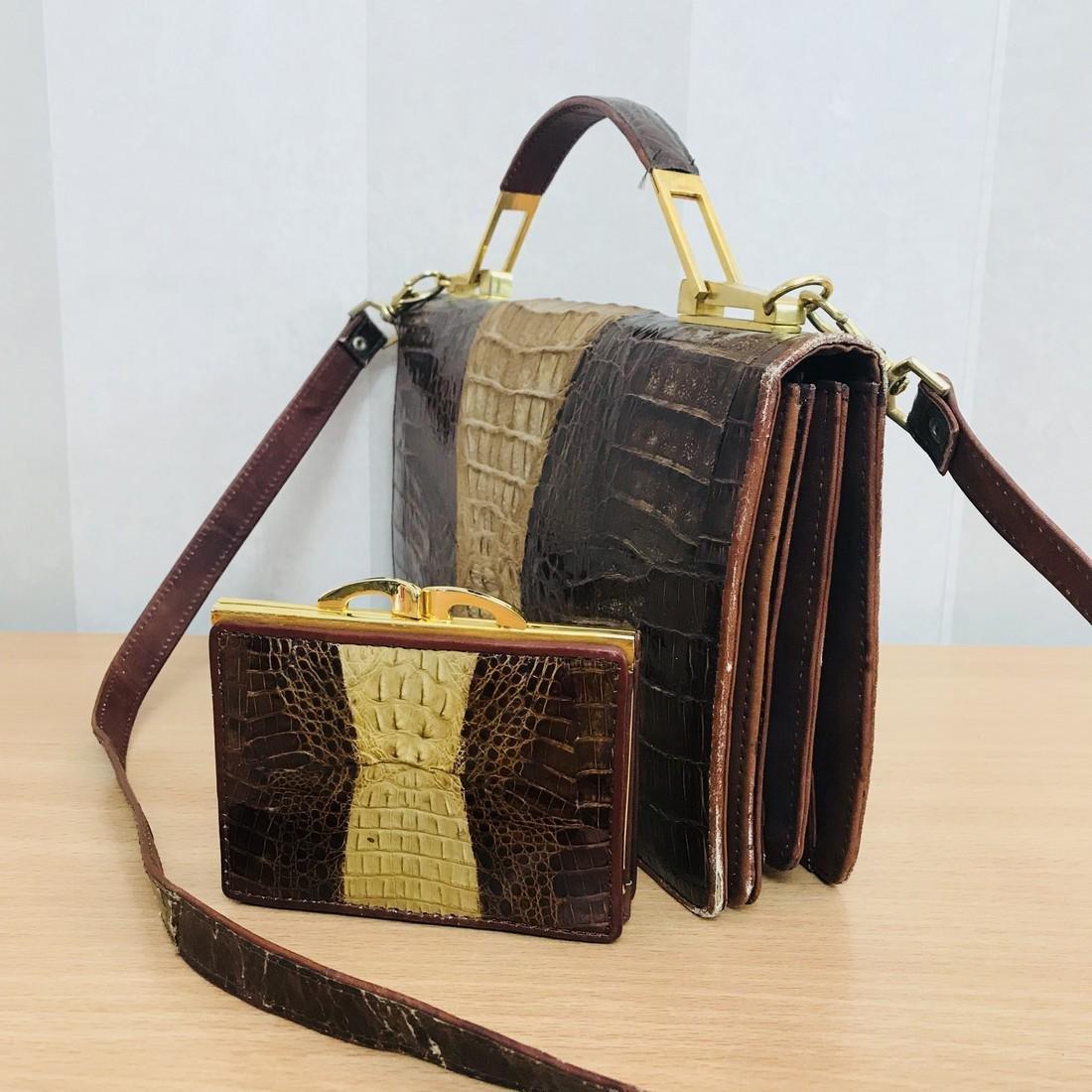 Vintage Genuine Crocodile Leather Handbag with Small - 4