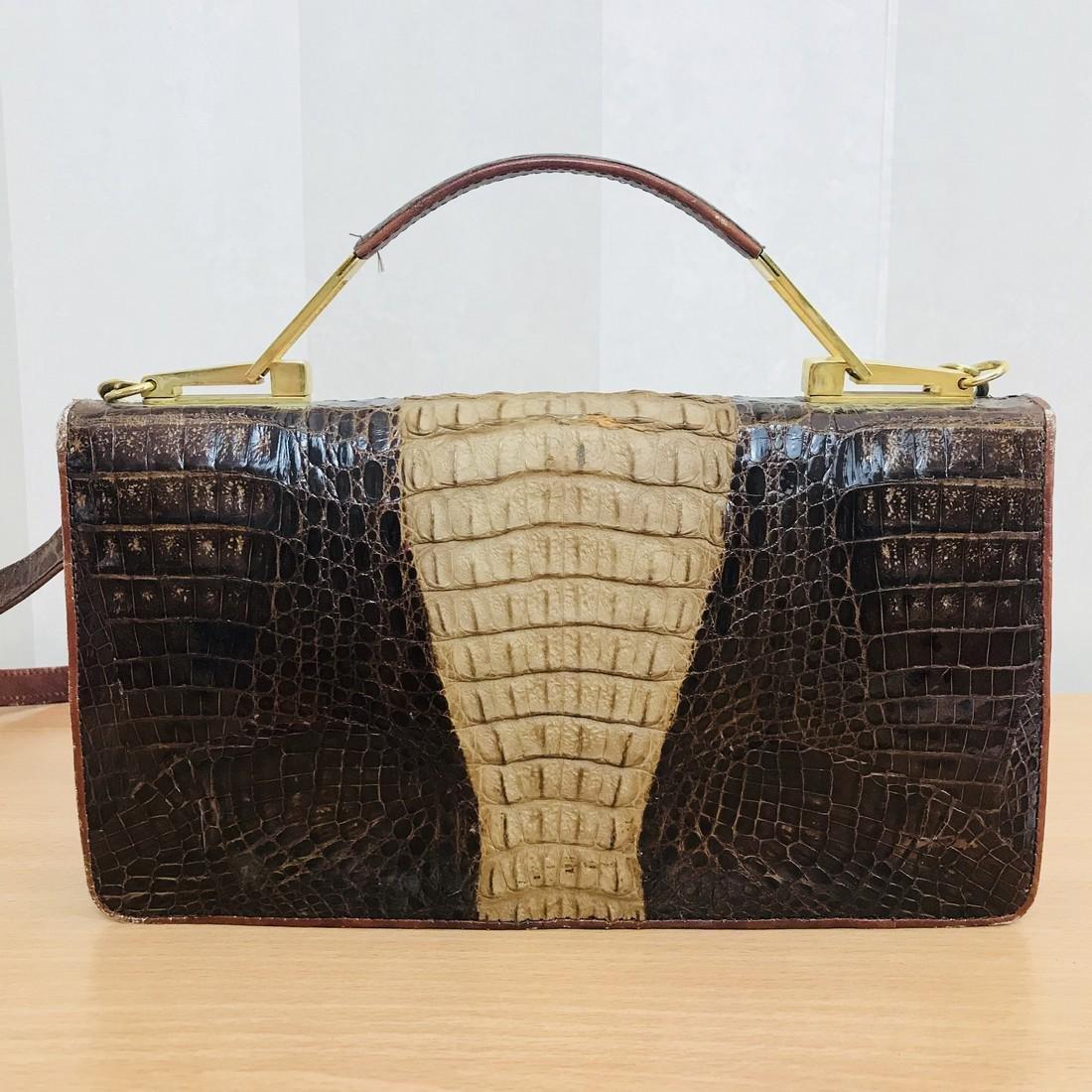 Vintage Genuine Crocodile Leather Handbag with Small - 5
