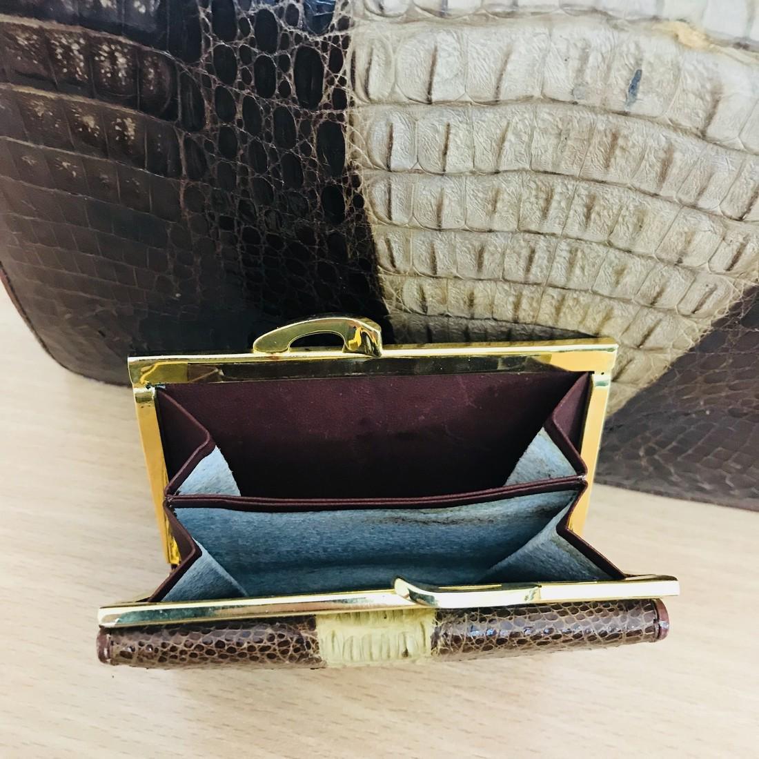 Vintage Genuine Crocodile Leather Handbag with Small - 6