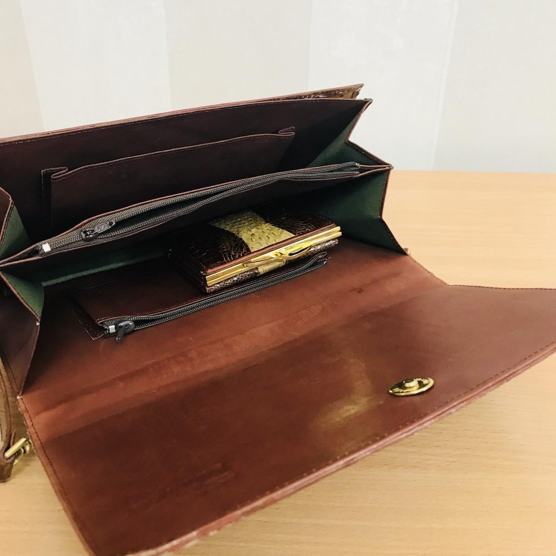 Vintage Genuine Crocodile Leather Handbag with Small - 7