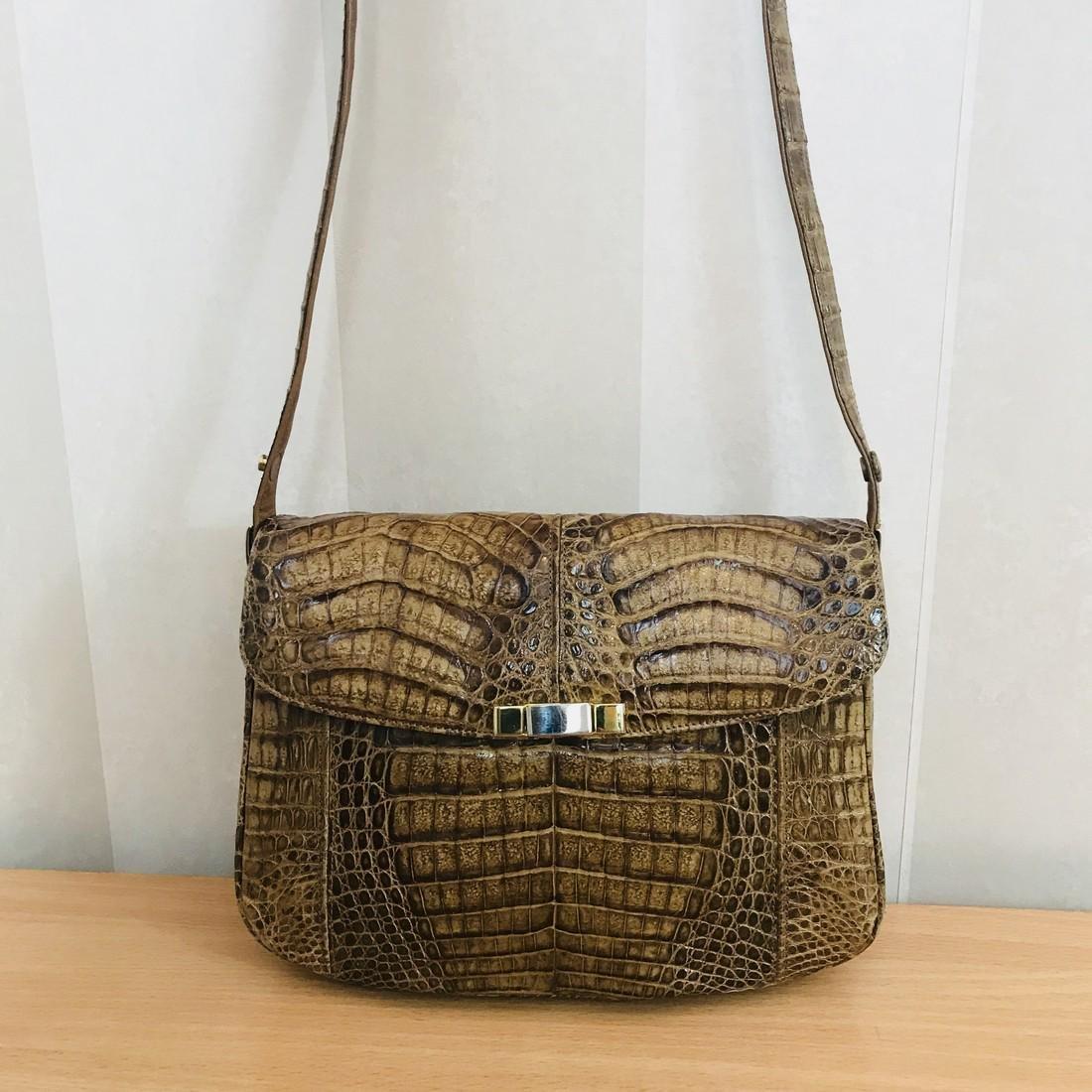 Vintage Genuine Crocodile Leather Shoulder Bag