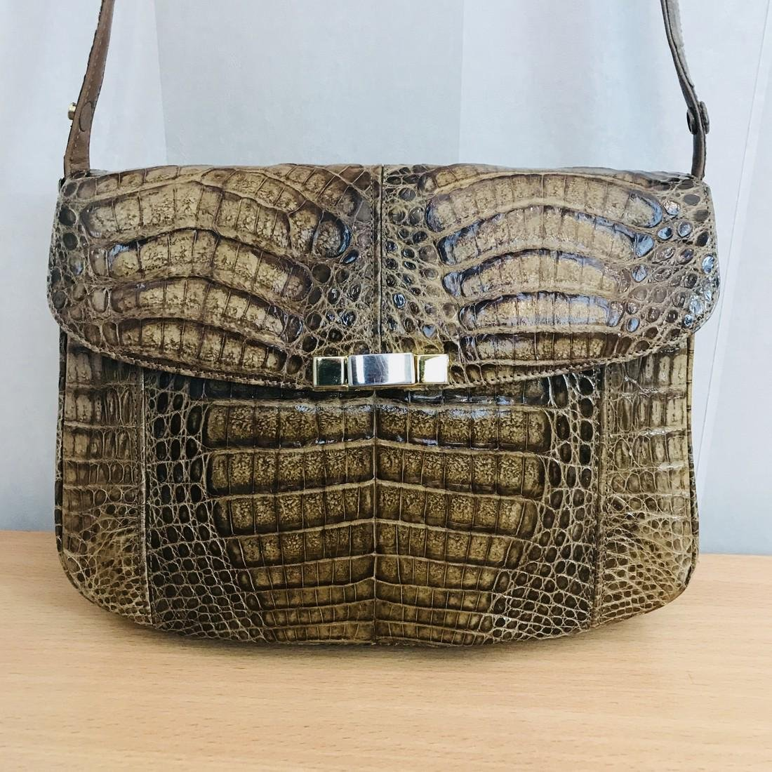 Vintage Genuine Crocodile Leather Shoulder Bag - 2