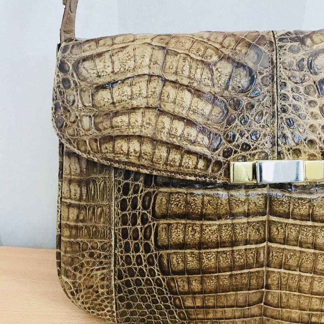 Vintage Genuine Crocodile Leather Shoulder Bag - 3