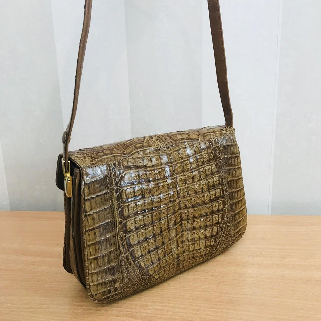 Vintage Genuine Crocodile Leather Shoulder Bag - 5