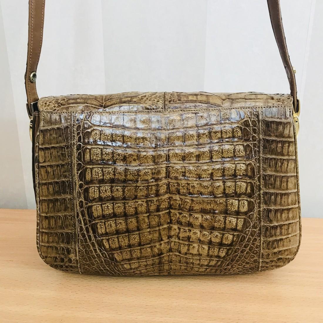 Vintage Genuine Crocodile Leather Shoulder Bag - 6