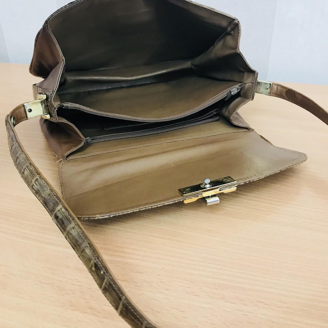 Vintage Genuine Crocodile Leather Shoulder Bag - 7