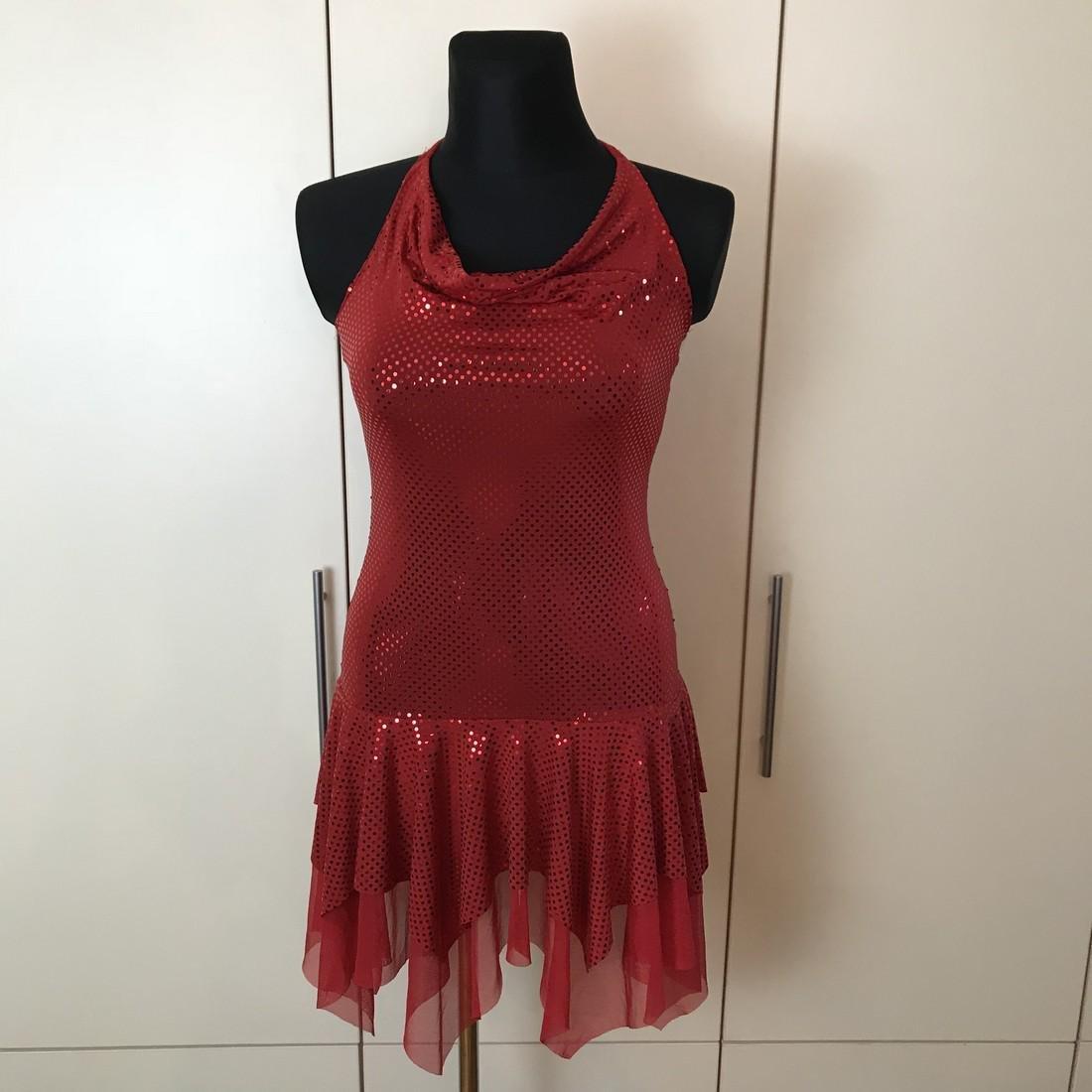 Red Disco Dancer Style Vintage French Designer Dress