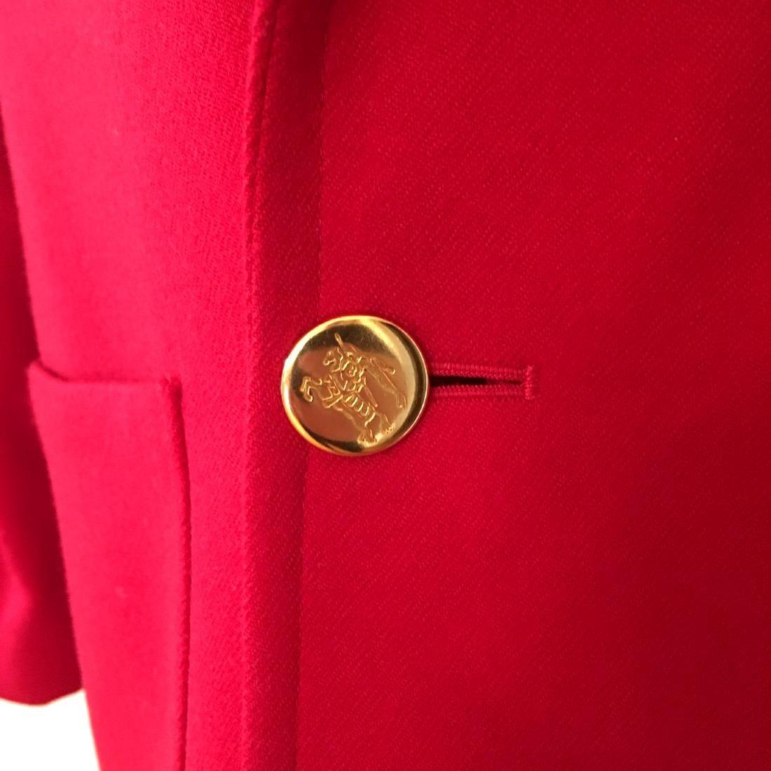 Women's Burberry Vintage 100% Wool Red Jacket Blazer - 2