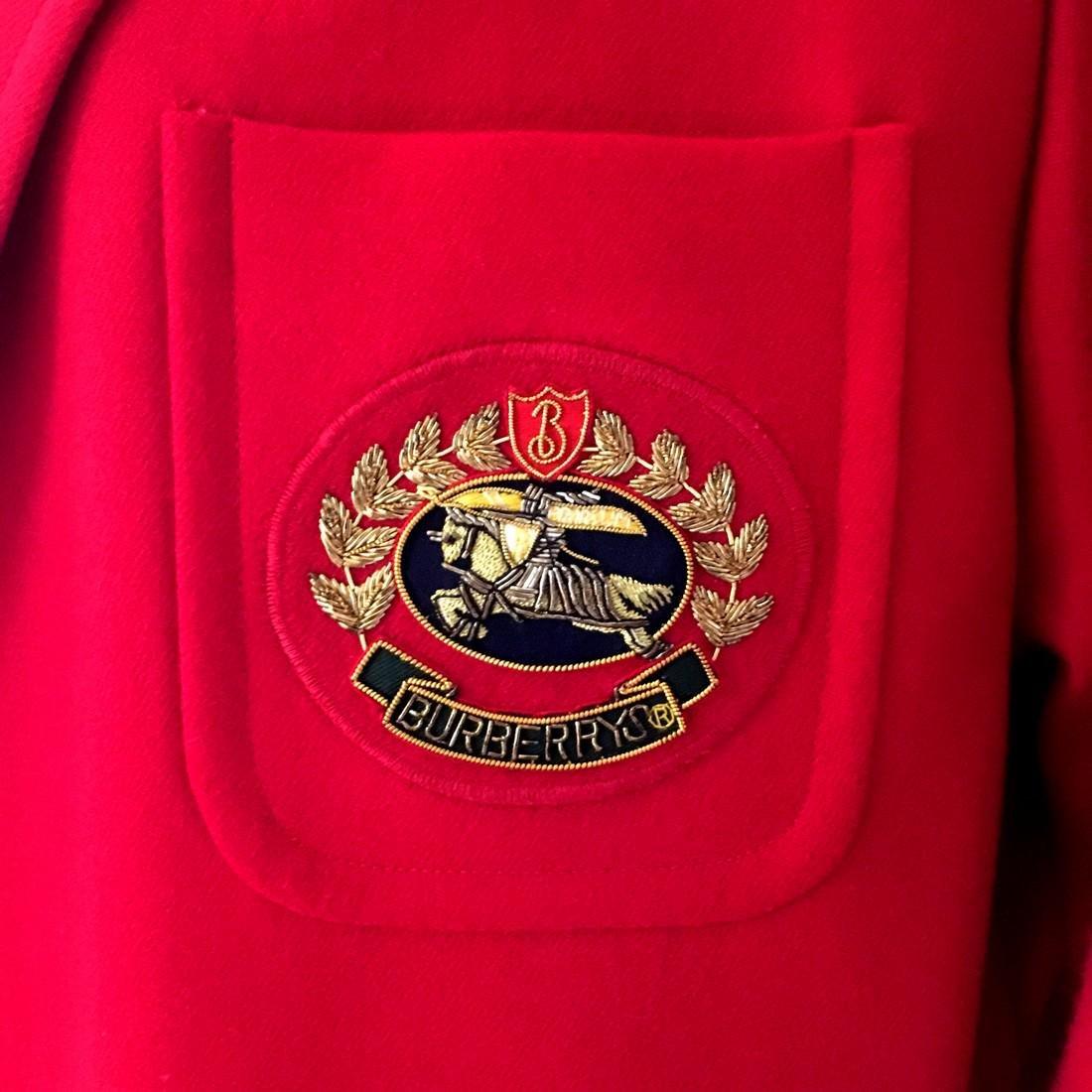 Women's Burberry Vintage 100% Wool Red Jacket Blazer - 3