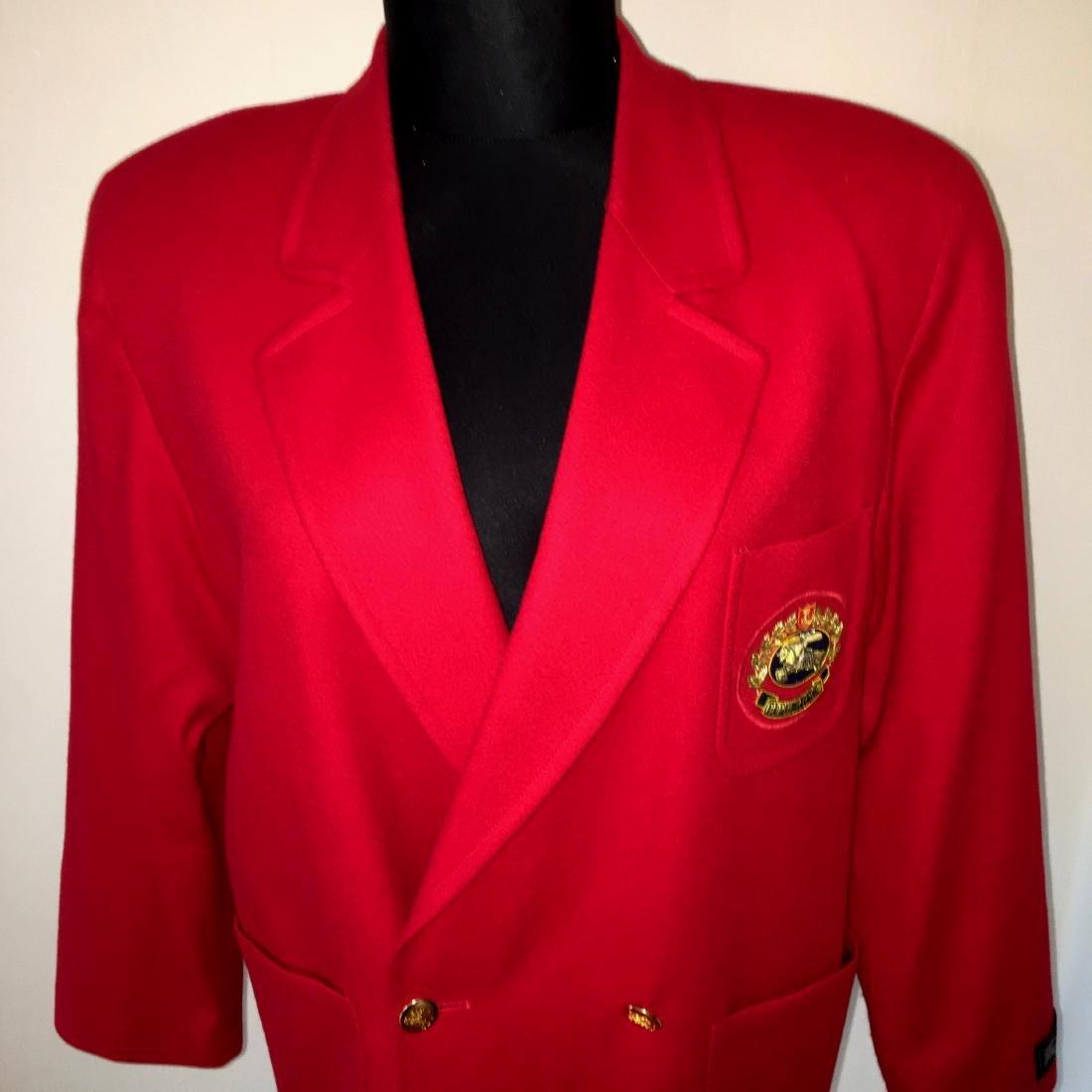 Women's Burberry Vintage 100% Wool Red Jacket Blazer - 4