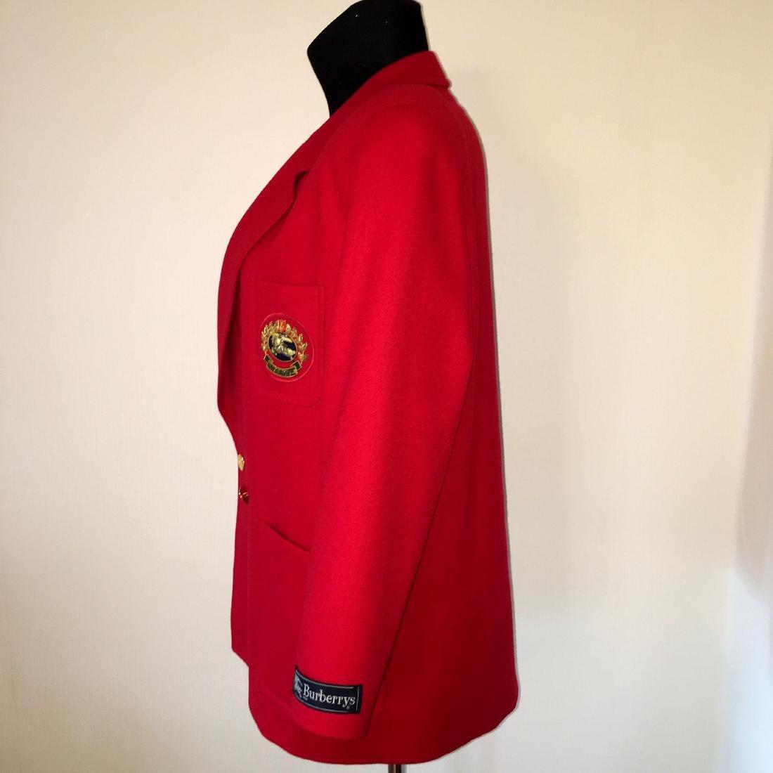 Women's Burberry Vintage 100% Wool Red Jacket Blazer - 5