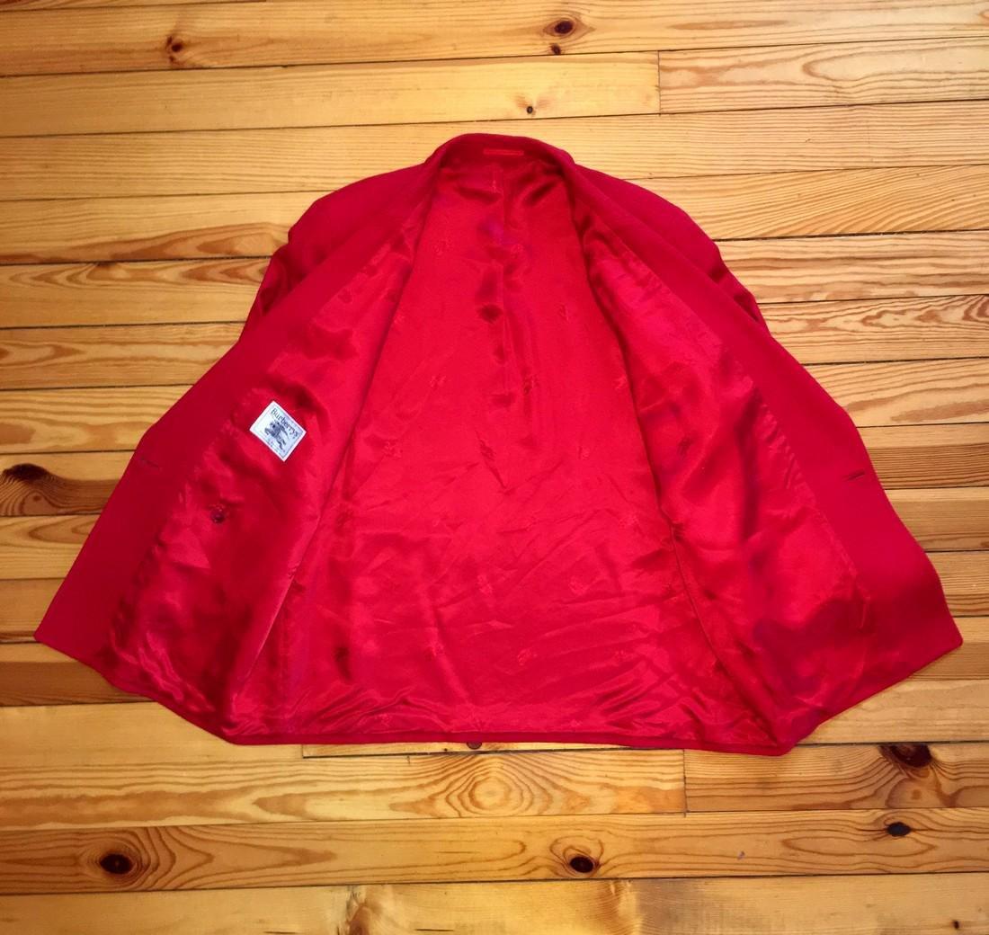 Women's Burberry Vintage 100% Wool Red Jacket Blazer - 7