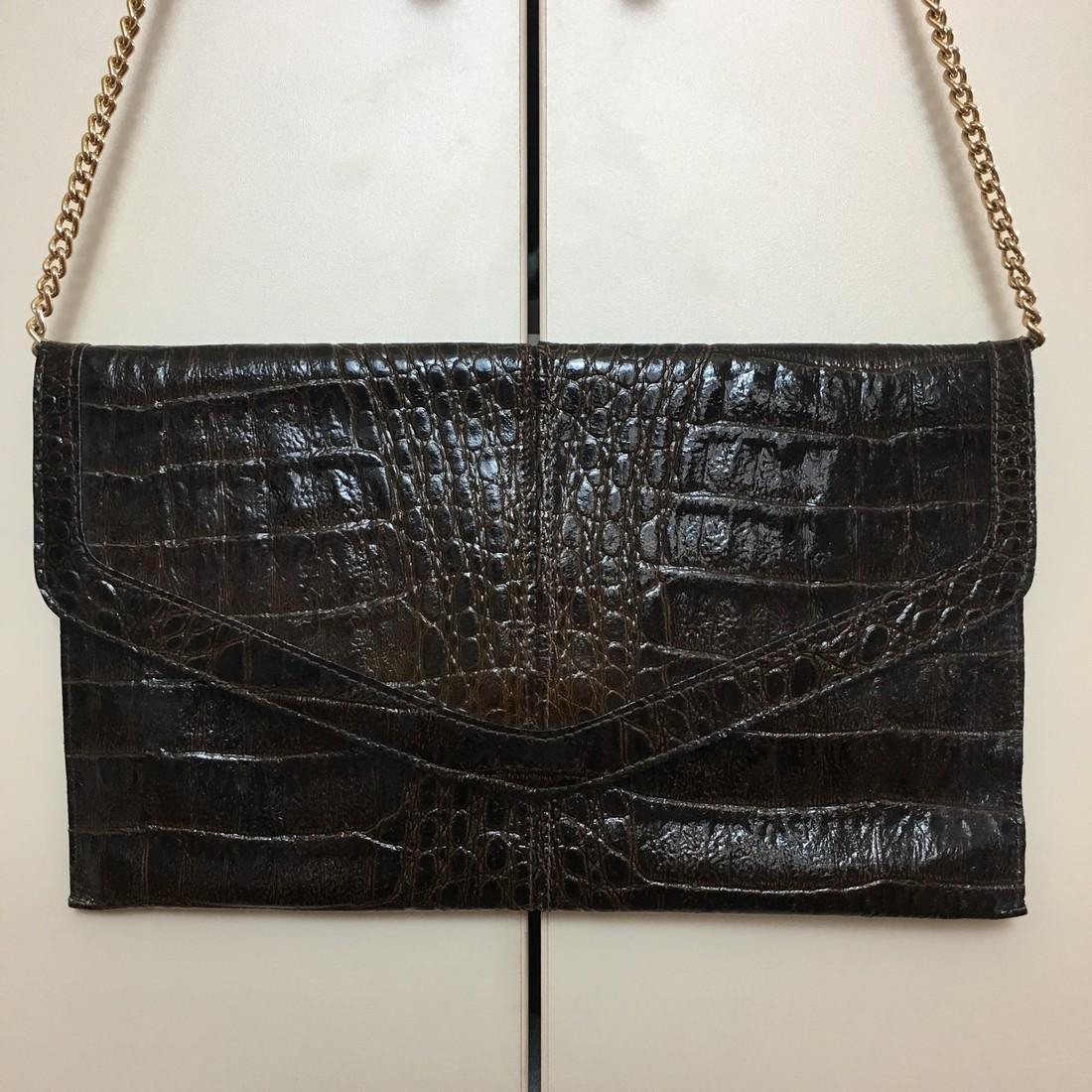 Vintage Real Alligator Leather Clutch Bag