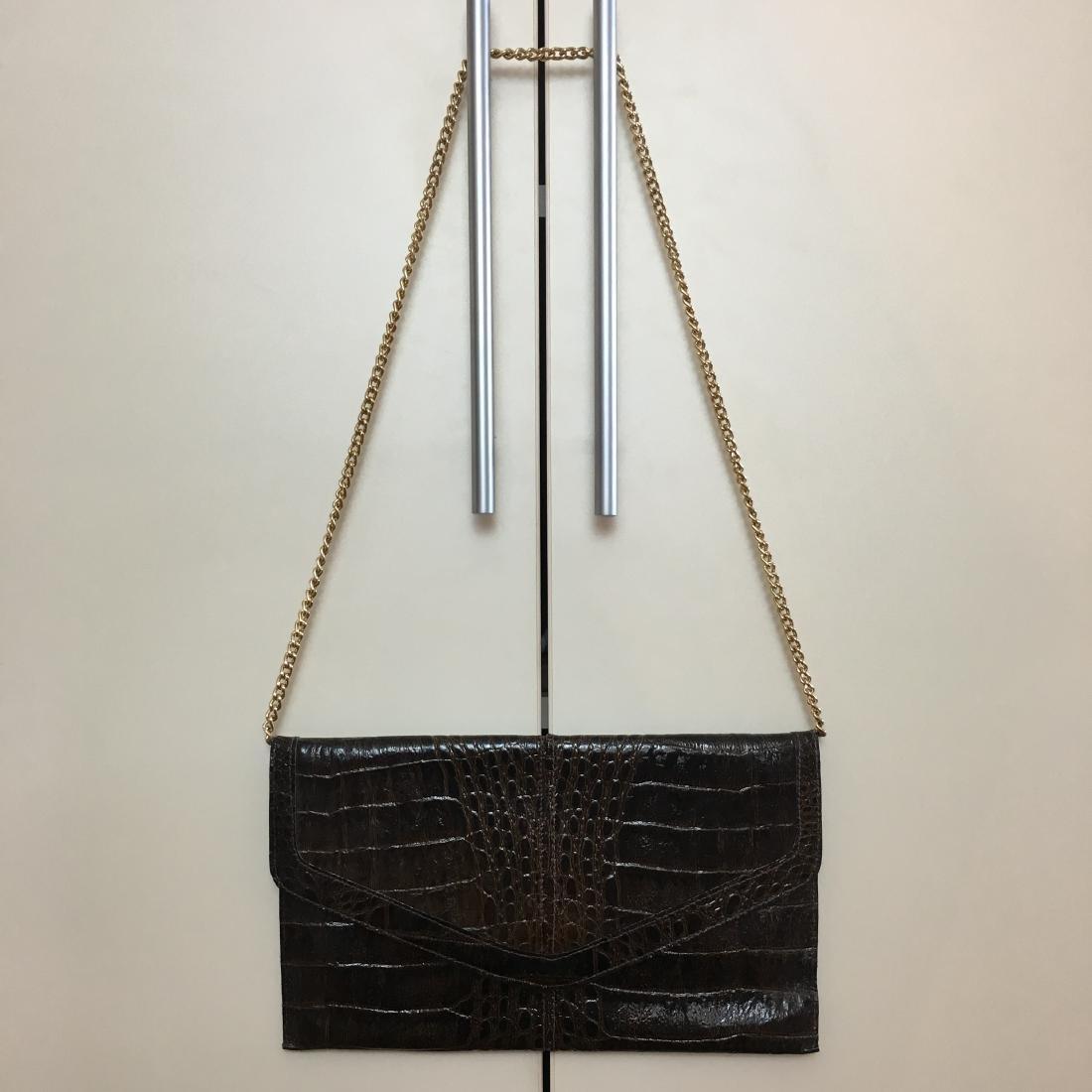 Vintage Real Alligator Leather Clutch Bag - 2