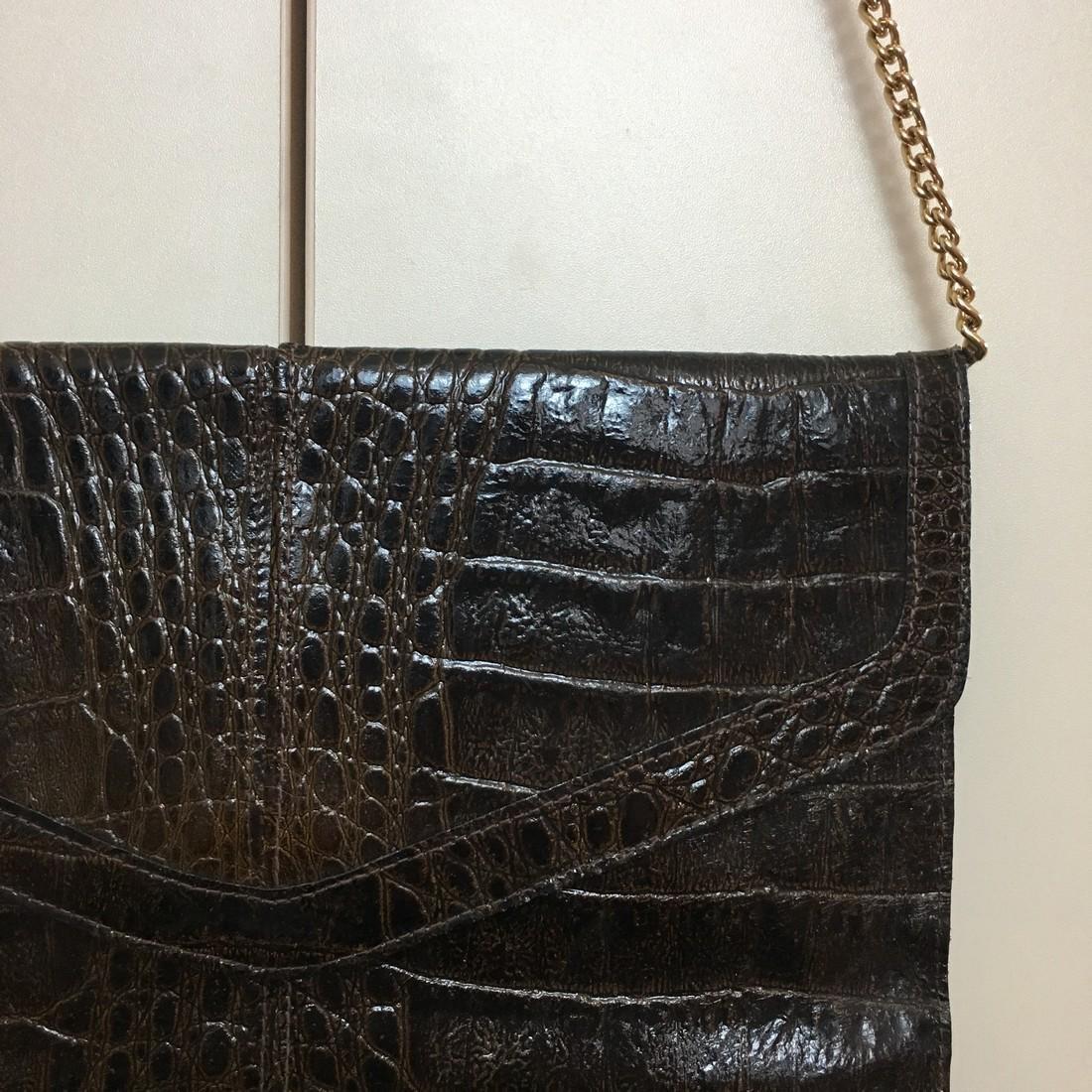 Vintage Real Alligator Leather Clutch Bag - 3