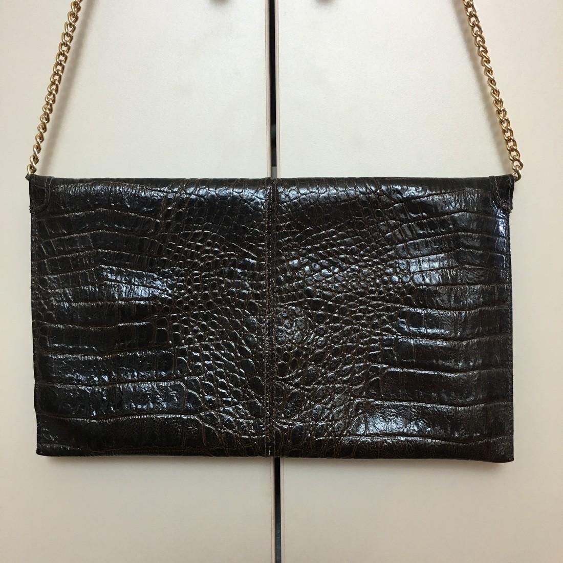 Vintage Real Alligator Leather Clutch Bag - 6