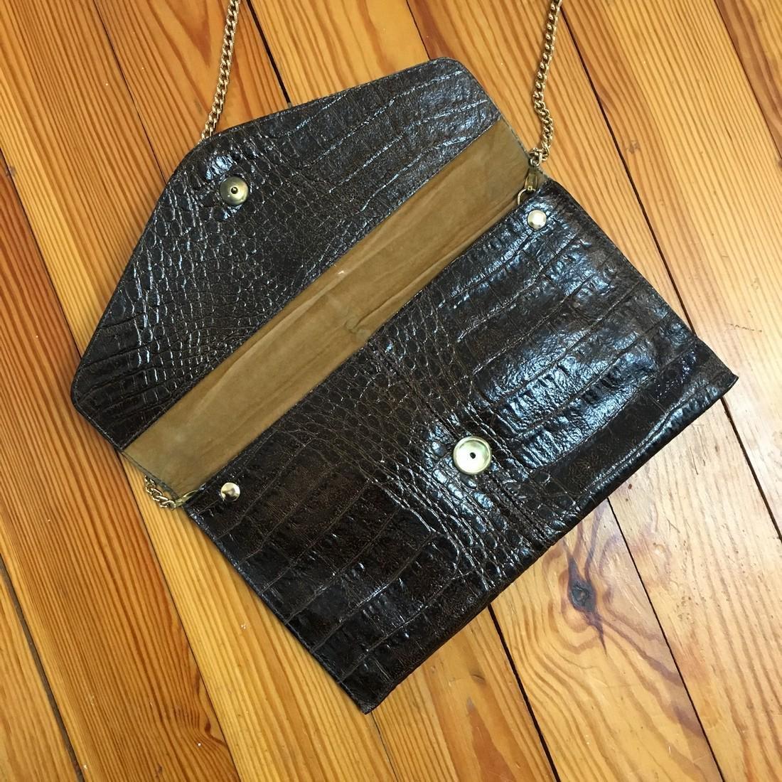 Vintage Real Alligator Leather Clutch Bag - 7