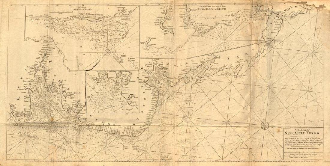 ENGLAND EAST COAST Sea 'chart for the Newcastle Trade'.