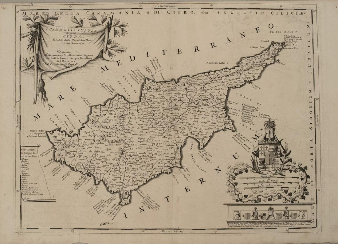 1690 Coronelli Map of Cyprus -- Acamantis Insula