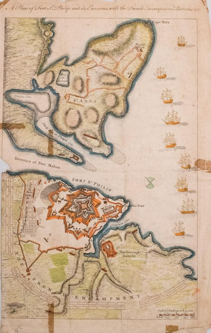 1756 Map of Minorca's St. Philip and Mahon Harbor -- A