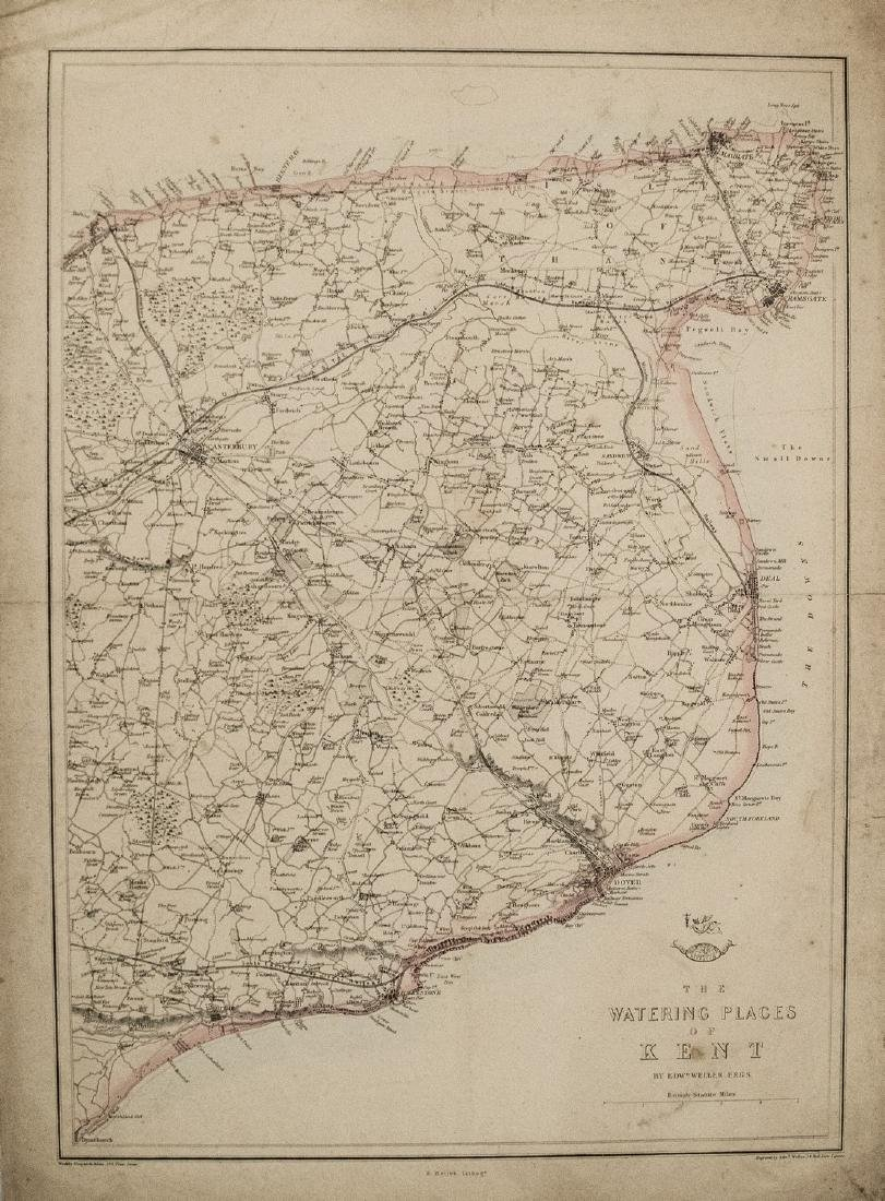 1863 Dispatch Atlas Map of Kent -- The Watering Places
