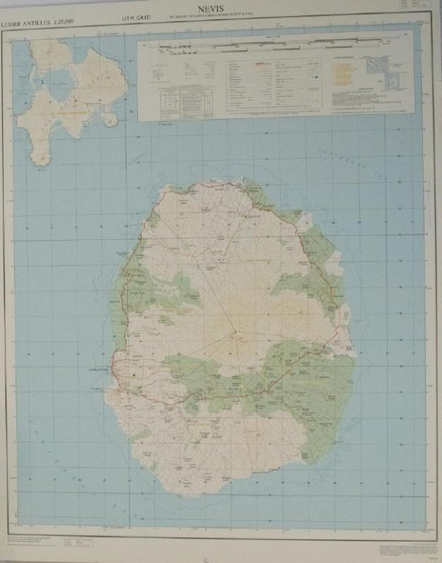 1984 Government Map of Nevis -- Nevis with Parts of