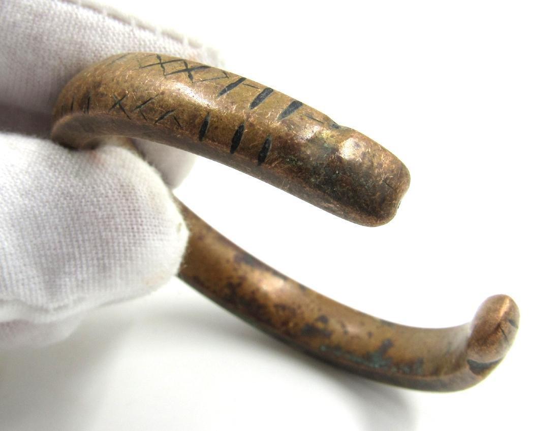 Medieval Viking Era Bronze Decorated Bracelet - 3