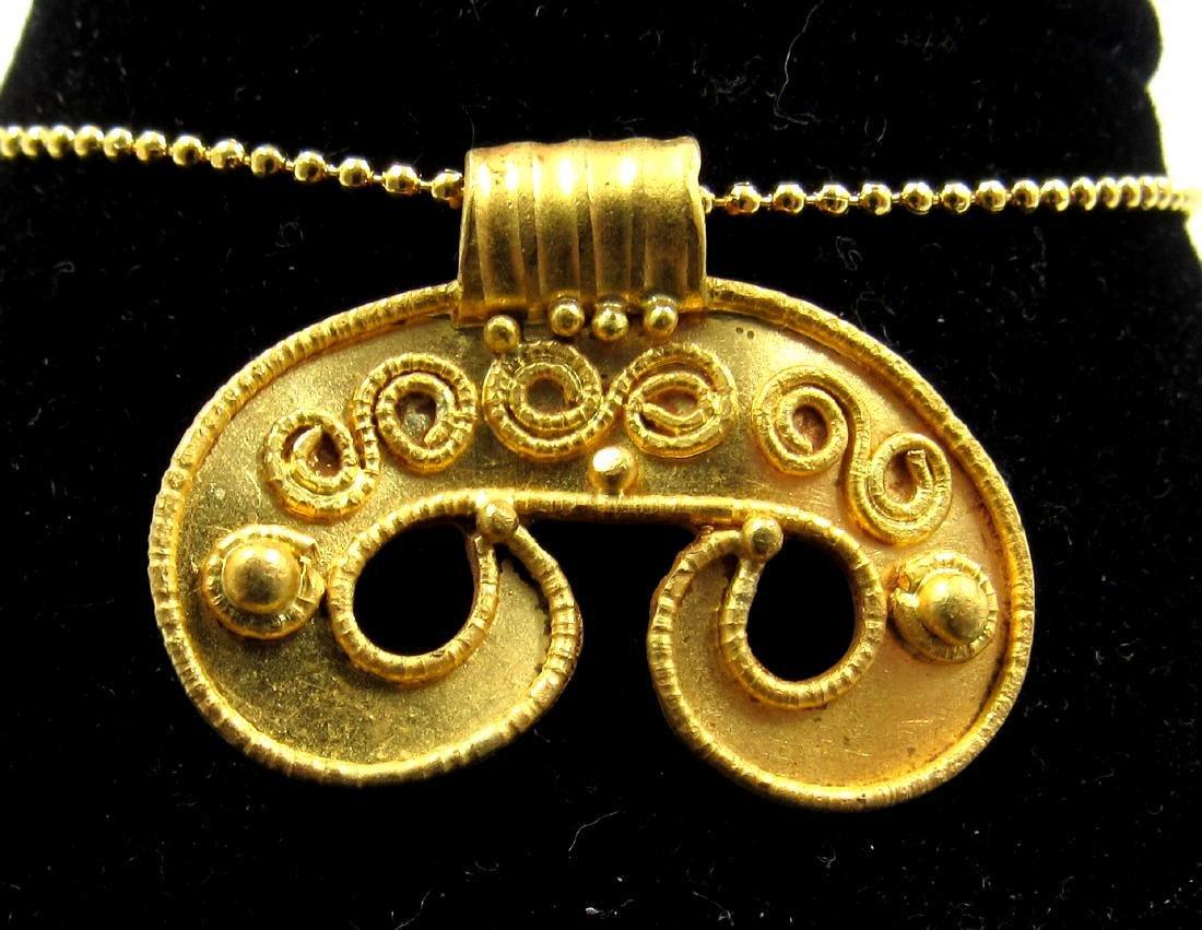 Medieval Viking Era Gold Lunar Pendant with Filligree