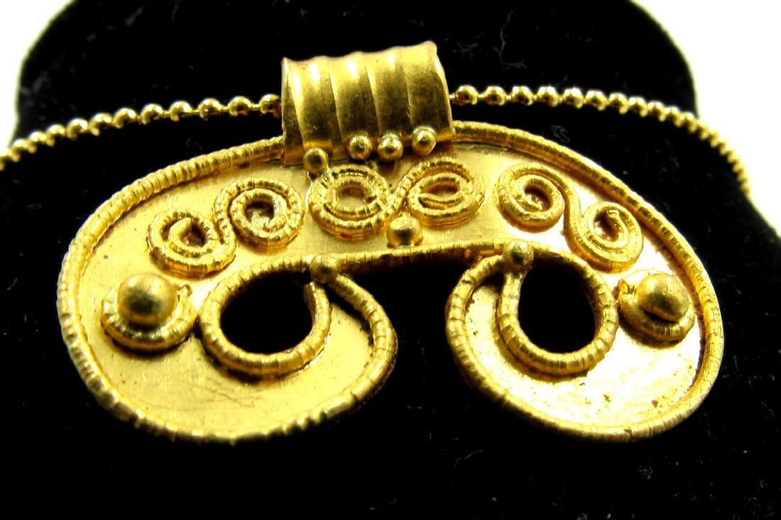 Medieval Viking Era Gold Lunar Pendant with Filligree - 2