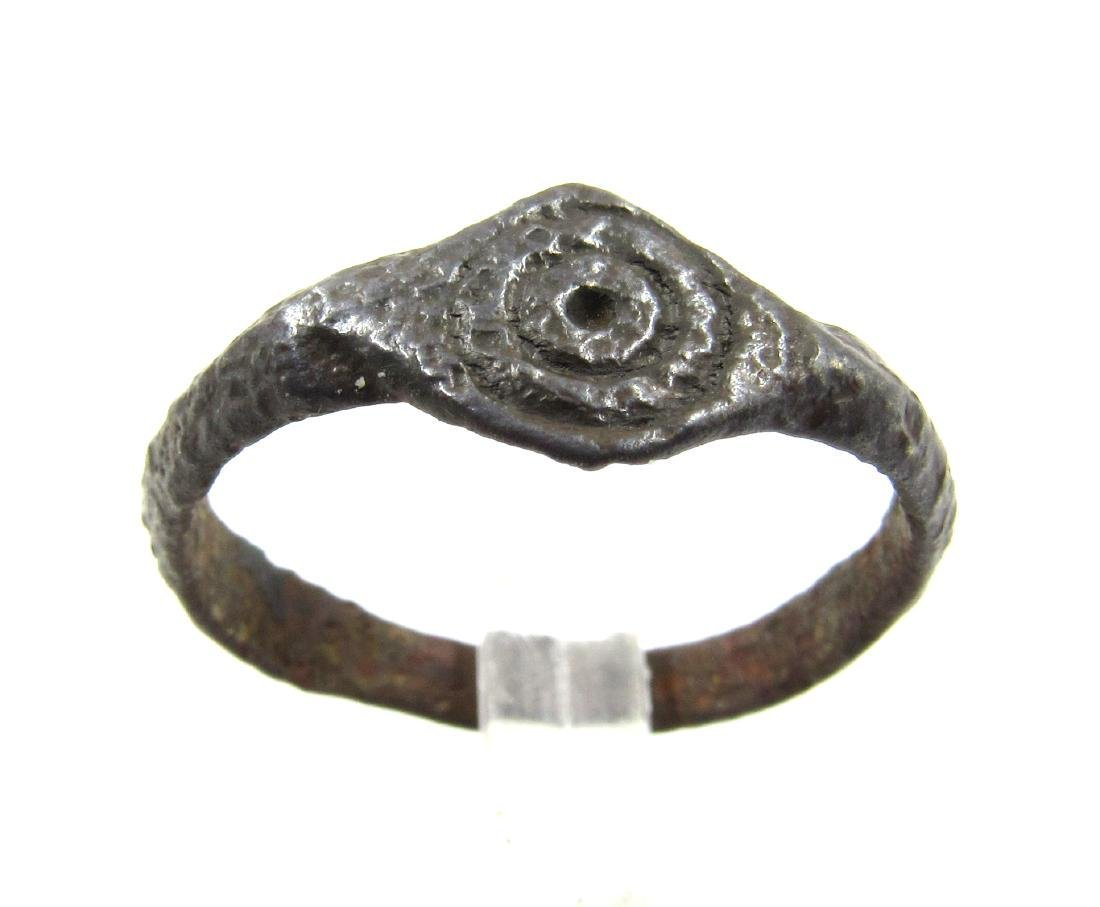 Medieval Saxon Era Bronze Ring with Sun Symbol