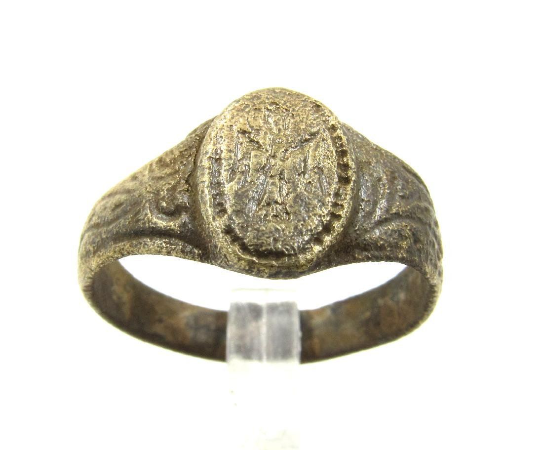 Late Medieval Tudor Era Bronze Ring with Angel