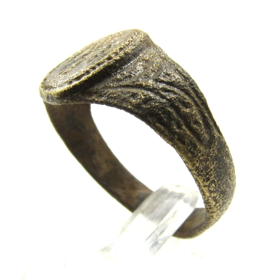 Late Medieval Tudor Era Bronze Ring with Angel - 3