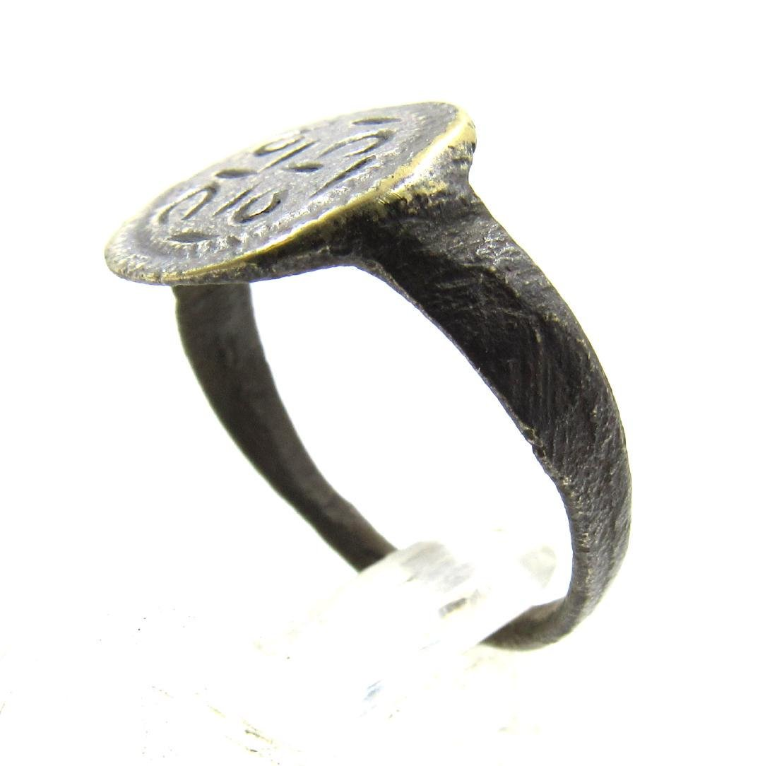 Medieval Crusaders Era Bronze Ring with Cross Motif - 2