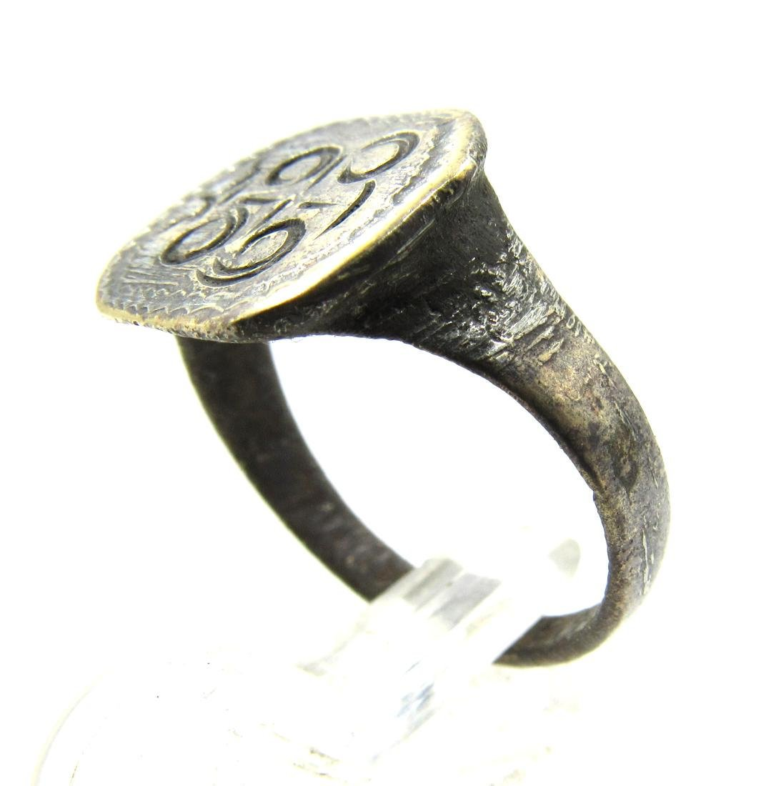 Medieval Crusaders Era Bronze Ring with Cross Motif - 2